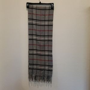 Stafford Scarf Gray, Black White & Red With Fringe